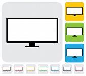 Lcd Or Led Flat Tv(television) Screen- Simple Vector Graphic