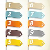 Set of colorful numbers with arrows.