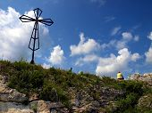 The Cross On The Background Of Clear Sky At The Top Biaklo (or Maly Giewont) Near Olsztyn Near Czest