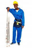 Smiling African Worker Resting Hand On Stepladder