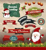 image of candy cane border  - Collection of vintage retro grunge christmas labels - JPG