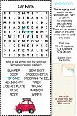 Car parts themed wordsearch puzzle