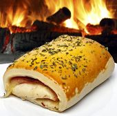 Bread stuffed with cheese ham and other delicacies