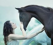 stock photo of brown horse  - Portrait of a dark horse and woman - JPG