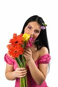 Lonely Woman With Spring Flowers