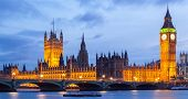 Panorama Cityscape of Big Ben and Westminster Bridge with river Thames London England UK