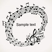 Banner Of Musical Notes. Sample Text
