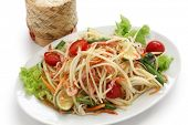 stock photo of green papaya salad  - som tam thai - JPG