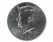 Half dollar coin with John F Kennedy design