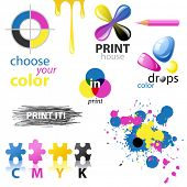 CMYK design elements and emblems