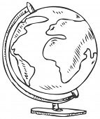 Vector doodle of a world globe stand