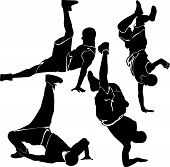 foto of break-dance  - breakdance silhouette break dance collection acrobat athlete - JPG