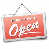 Ilustración detallada de un letrero de la tienda roja con información de bienvenida a los visitantes, eps10 vector