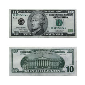 stock photo of one hundred dollar bill  - both sides of the ten dollar bill isolated on white with clipping path - JPG