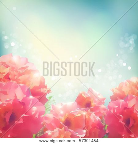 Shining flowers roses (peonies) background poster
