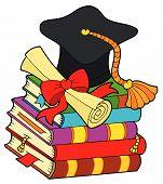 Graduation hat on pile of books