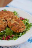 picture of veggie burger  - Delicious vegan veggie burger patty with quinoa - JPG