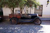 Vintage car in Colonia del Sacramento street, Uruguay
