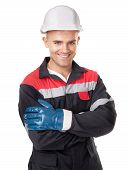 Worker With Protective Helmet And Gloves
