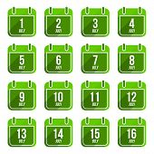 July vector flat calendar icons. Days Of Year Set 19