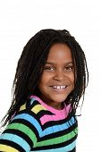 stock photo of cornrow  - isolated portrait little black girl with colorful top - JPG