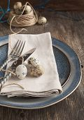 foto of quail egg  - Easter Table Setting With Quail Eggs Old Wooden Table - JPG