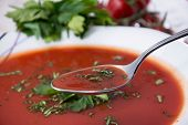 Tomato Soup With Spoon