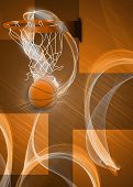Baketball Hoop And Ball Background