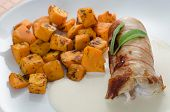 Chicken Roulade with baked pumpkin