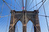 American Flag On The Brooklyn Bridge, New York City