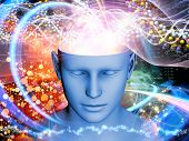 stock photo of hallucinations  - Abstract design made of human head and symbolic elements on the subject of human mind consciousness imagination science and creativity - JPG