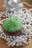 stock photo of hazelnut tree  - Christmas Tree Muffins with chocolate - JPG