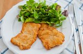 image of wieners  - Wiener Schnitzel with salad on a white plate - JPG