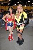 Mary Carey and attendee at the Pasadena Rock'n Comic Con Day 2, Pasadena Convention Center, Pasadena