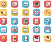 Flat Icons - SEO and Web Icons Long Shadow Vector Set