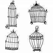 Set Of Doodle Cages For Birds
