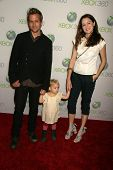 Gabriel Macht and Jacinda Barrett and daughter Satine Anais Geraldine Macht at the World Premiere of