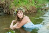 picture of undine  - Pretty girl in flower chaplet at river - JPG