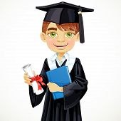 Cute student boy holding a diploma and schoolbook