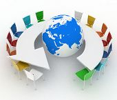 Conference table as an arrow with globe. Concept of global politics, diplomacy, environment, world l