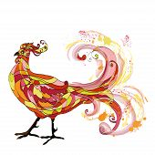 image of roster  - Rooster graphic illustration on the white background - JPG