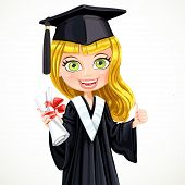Blond Girl In Cap And Gown Graduate Holding A Scroll Diploma