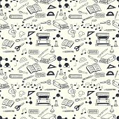 foto of sketch book  - Seamless pattern with scribbled school stationery - JPG