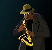 Cartoon jazzman playing on a saxophone