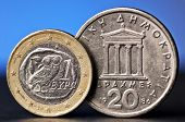 Euro And Old Greek Coin