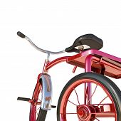 image of tricycle  - illustration of a red tricycle isolated on white background - JPG