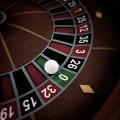 White Ball On Roulette Wheel
