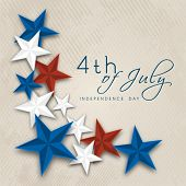 Beautiful stars in American National Flag colors on beige background for 4th of July, American Independence Day celebrations.