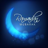 picture of ramazan mubarak  - Shiny blue moon for holy month of Muslim community Ramadan Mubarak - JPG