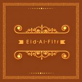 Beautiful greeting card design with stylish text Eid-Al-Fitr on golden frame decorated brown backgro
